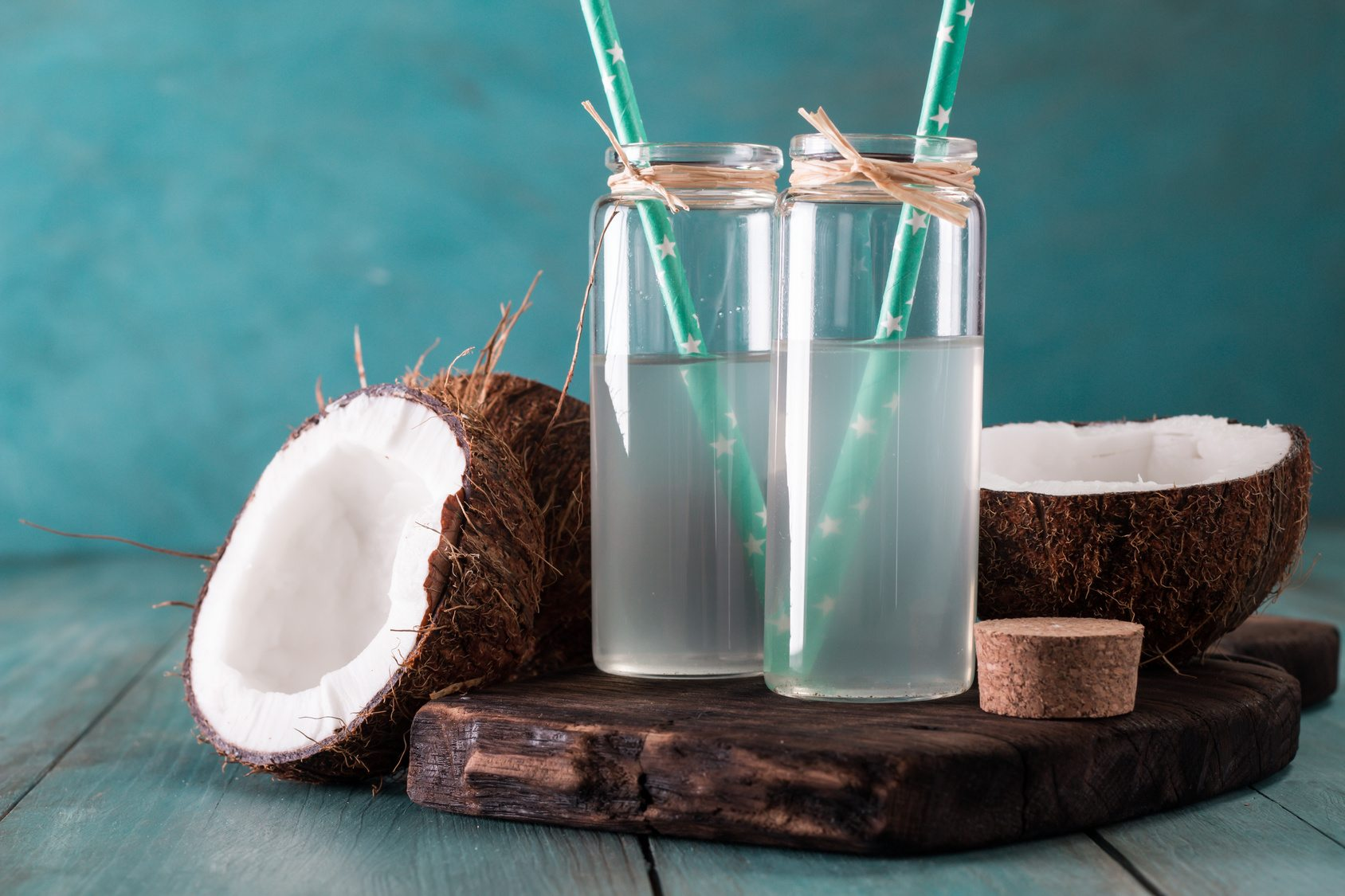 Sliced Coconuts With Glassed Coconut Water